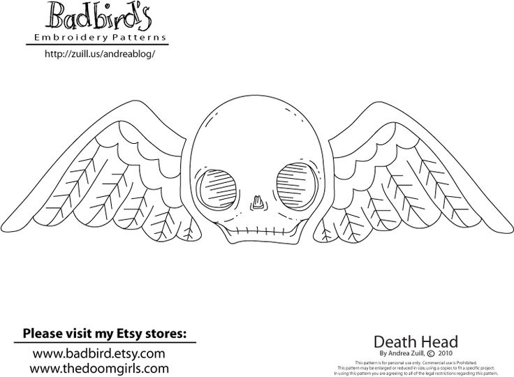 death head free pattern by andrea zuill - Halloween Hand Embroidery Patterns