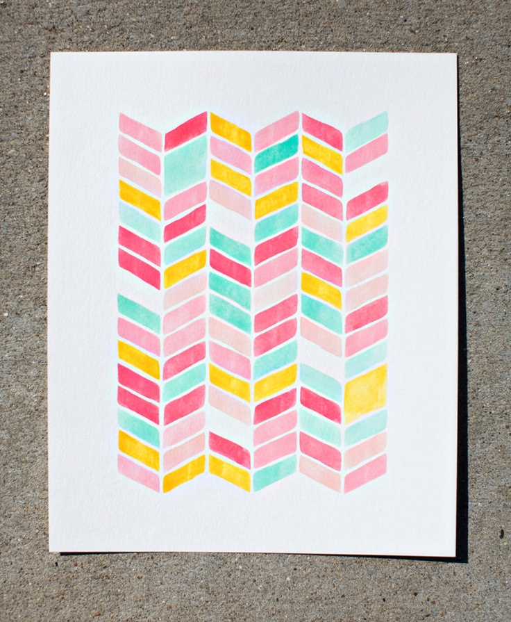 Watercolor pattern chevron the image for Chevron template for painting