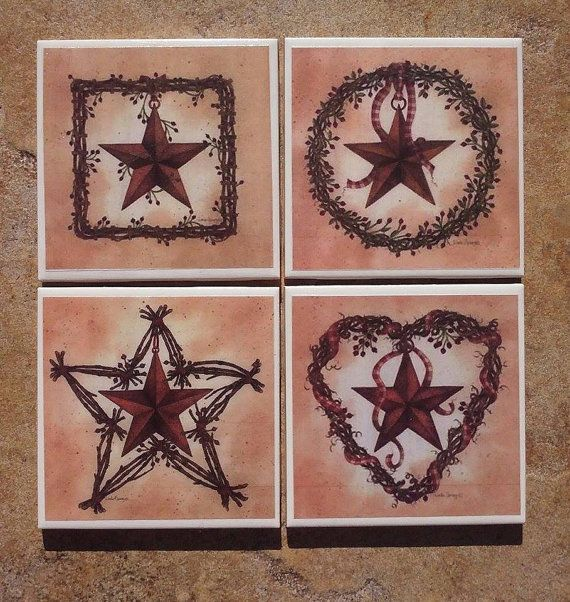 This set of coasters depicts four (4) different Rustic Star Wreath designs. Each coaster is 4.25 x 4.25.  These coasters are hand-crafted using printed images and decoupage medium, then sprayed with several coats of acrylic sealant. The backs of the tiles have a cork backing to protect your surfaces.  Care Instructions: it is recommended to wipe these down with a damp cloth; do not submerse in water or place in the dishwasher.  These coasters are made to order, so please allow 2-3 days…
