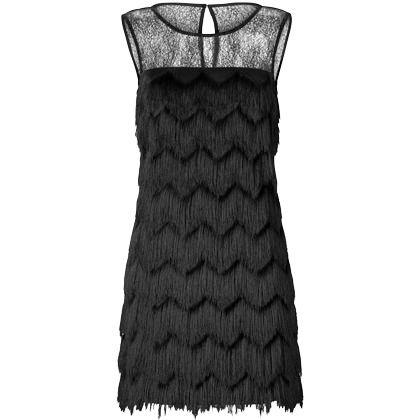 kleid im twenties stil ausgefallenes schwarzes kleid von ana alcazar die fransen dieses. Black Bedroom Furniture Sets. Home Design Ideas