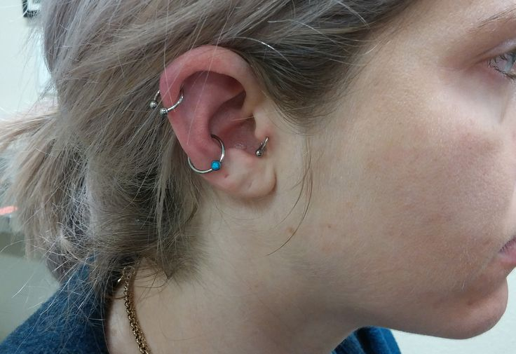 freshly #pierced #conch with an #sm316 #captive_bead_ring with a #blue #opal bead #bodypiercing #piercing #body #imperialbodyart #meridian #idaho #boise