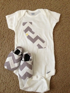 chevron appliqued onesies and matching chevron cloth shoes