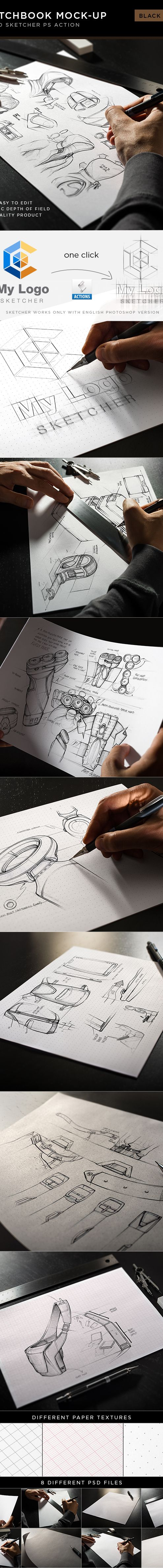 Sketchbook Mock-Up / Black Edition by Andrej Sevkovskij, via Behance