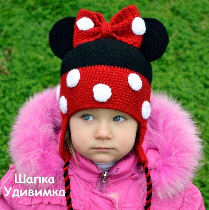 Купить Шапка Мини Маус - Микки Маус, мини маус, шапка крючком, теплая шапка