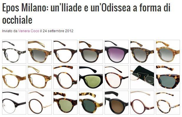 """""""EPOS Eyewear dedica le sue collezioni di occhiali da sole e da vista agli dei e agli eroi dei vari poemi epici, facendo dello stile vintage il suo fiore all'occhiello."""" (Venera Coco, U-Style - Pillole di Moda e Tendenze)"""