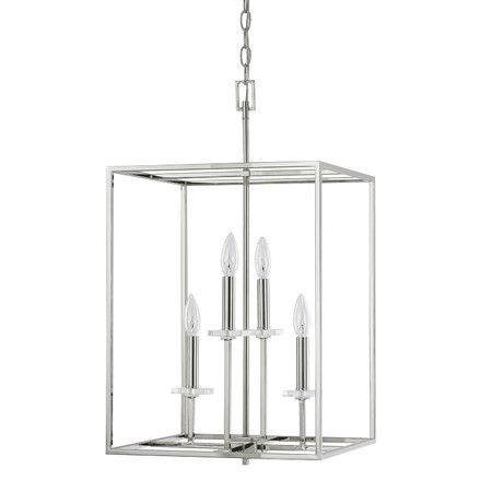 Bring refined style to your foyer or dining room with this elegant pendant showcasing a cage frame and candelabra inspired design