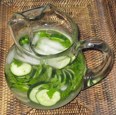 Great drink idea!     Lemon Cucumber Water: 1glass  water pitcher,  1 gallon cold water,    1/2 cucumber, sliced  1 lemon, sliced  small handful of fresh mint leaves (optional)    Place all the ingredients into a pitcher, let sit in your refrigerator for 1 hour up to overnight.  Serve over ice for a cool and very refreshing drink.  Will keep a few days in the refrigerator.