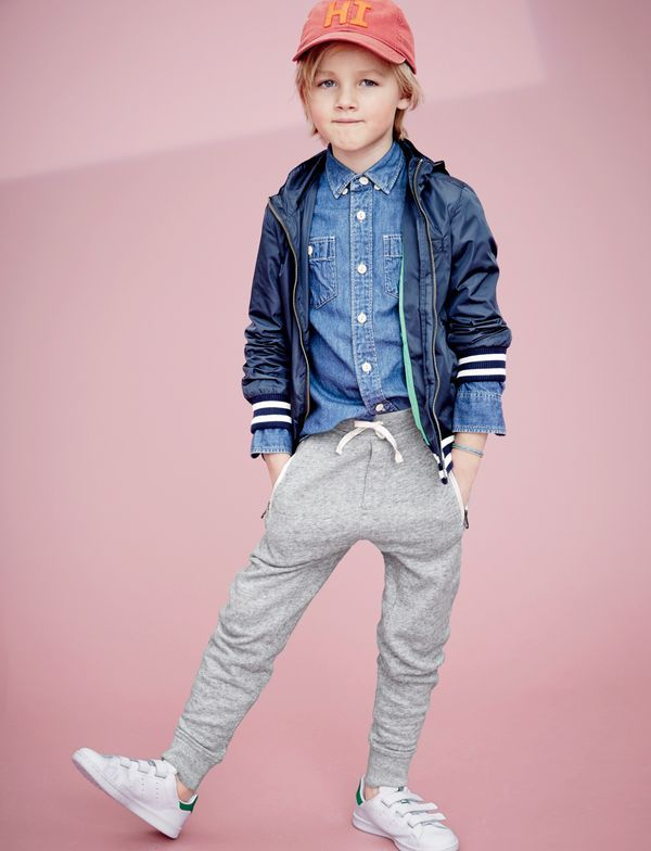J.Crew boys' nylon athletic jacket with hood, chambray workshirt, slim slouchy sweatpant with zip pockets, hi baseball cap and Adidas® Stan Smith™ sneakers.