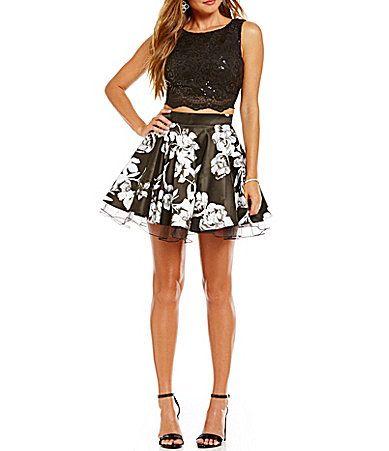 Jodi Kristopher Sequin Lace to Floral TwoPiece Dress #Dillards