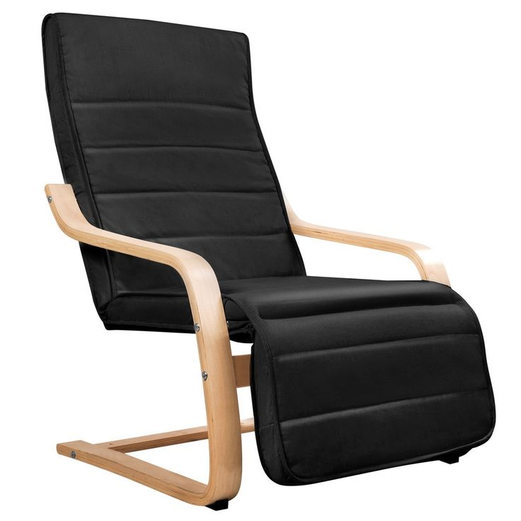 Birch Bentwood Adjustable Recliner Lounge ArmChair with Fabric Cushion Black