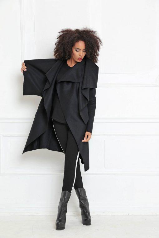 ad0a10bb02c4d4 Plus Size Clothing  Cashmere Coat  Winter Coat  Asymmetric Coat  Wool Coat    Black Coat  Black Winter Coat  Black Jacket  Warm Jacke…