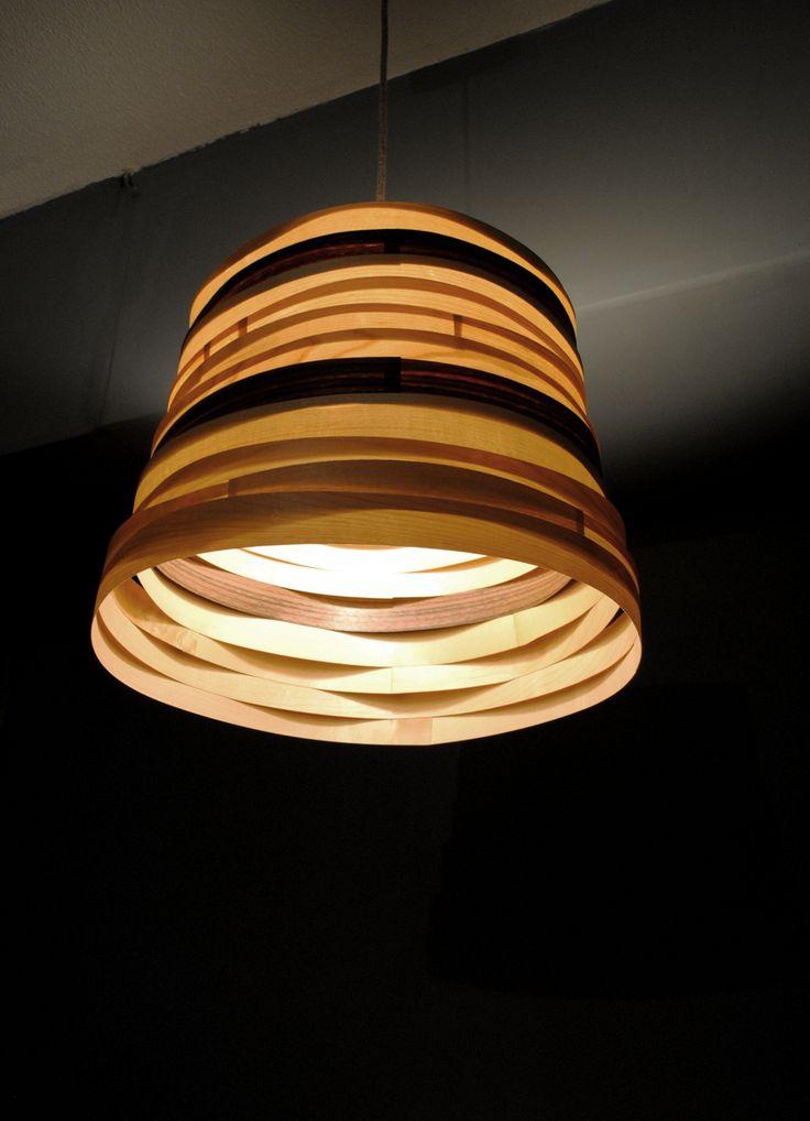Lucky Stripe - #handmade #woodlamps #pendantlamps #woodenlights #woodwork #veneer #veneerlight  Φωτιστικό οροφής από καπλαμά σφένδαμου - καρυδιά και ξύλο πεύκου. Διαστάσεις: μικρή διάμετρος καπέλου 35 εκ. , μεγάλη διάμεντρος καπέλου 40 εκ., ύψος καπέλου 30 εκ.  Pendant light, made of mapleand walnut veneer, and pinewood. Dimensions: Diameter: (small) 35 cm, (big) 40 cm. Total height: 30 cm