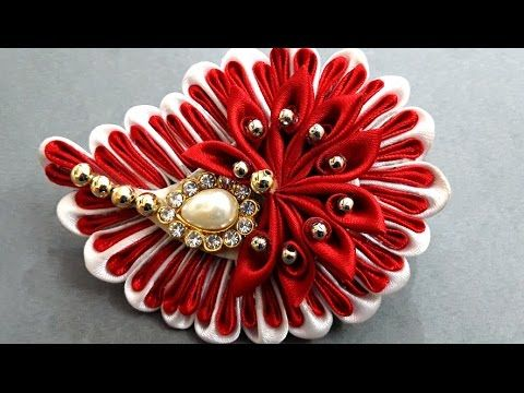 DIY Crafts : How to Make Beautiful Kanzashi Satin Ribbon Flower | DIY Girls Hair Accessories - YouTube