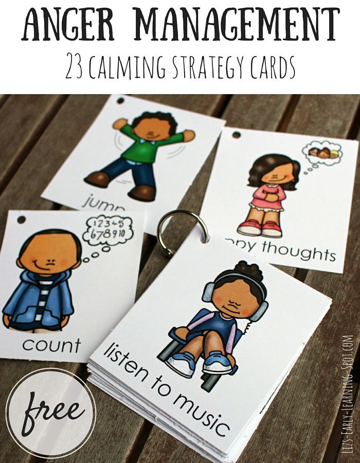 These free cards are great for talking to kids about calming themselves. Let them pick their favourite anger management strategies to try!