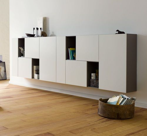 Contemporary living room wall unit / lacquered wood / by Werner Aisslinger CUBE PLAY interlübke