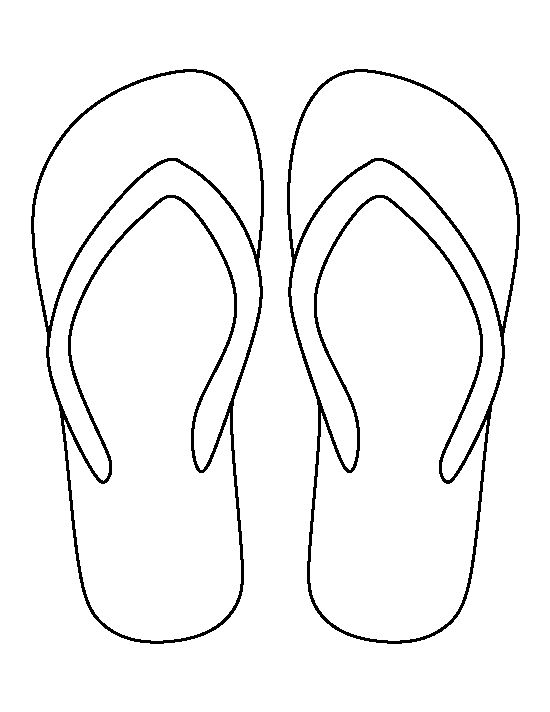 Flip flop pattern. Use the printable outline for crafts, creating stencils, scrapbooking, and more. Free PDF template to download and print at http://patternuniverse.com/download/flip-flop-pattern/