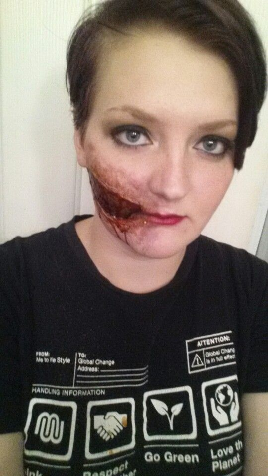 a look I made using liquid latex, fake blood, and a whole lot of makeup