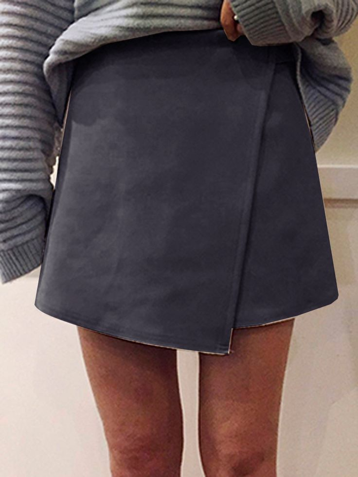 Gray Faux Suede Wrap Asymmetric Mini Skirt
