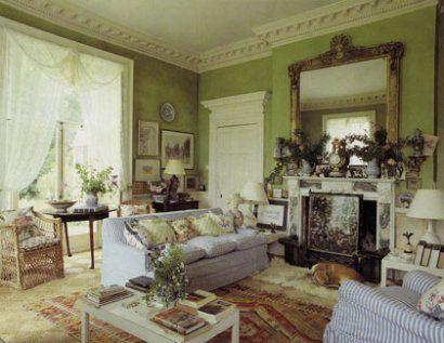 pea green walls with white details - Georgian cottage colour scheme