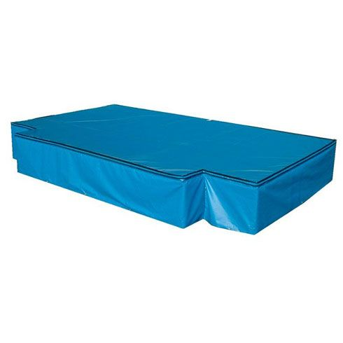 Three part athletic high jump landing mat area. Features 7.0m x 4.0m x 0.7m matting pieces in three modules, complete with 50mm deep wear sheet. Rainproof cover available. Palletised platform flooring optional. Suitable for competition use for up to senior level. Meets all safety standards for use within UK athletics.