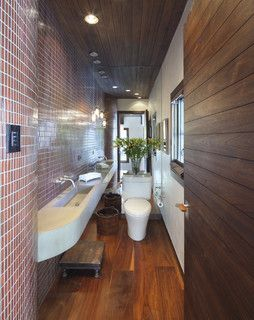 a long and narrow bathroom idea using space efficiently