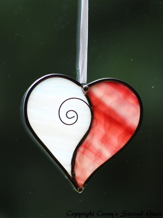 Heart Stained Glass Suncatcher by connysstainedglass on Etsy