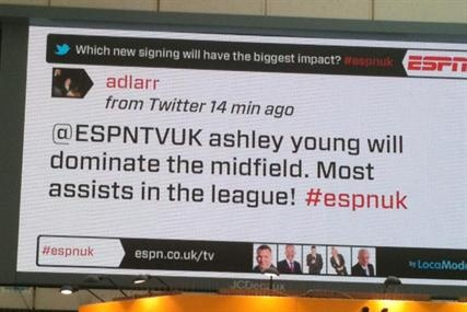 ESPN, the Disney-owned sports broadcaster, is launching a digital outdoor campaign that will integrate real-time discussion from its football presenters into the creative. ESPN claims the outdoor campaign will be the first UK campaign to integrate live, real-time content and debate, by featuring comments from ESPN football presenters Ray Stubbs and Kevin Keegan while they are on-air.