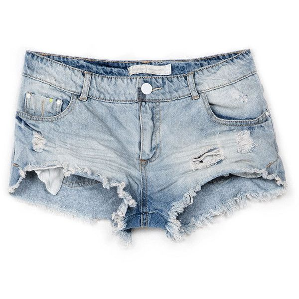 Shorts Bershka Saum ausgefranst ($29) ❤ liked on Polyvore featuring shorts, bottoms, pants, short, short shorts and bershka