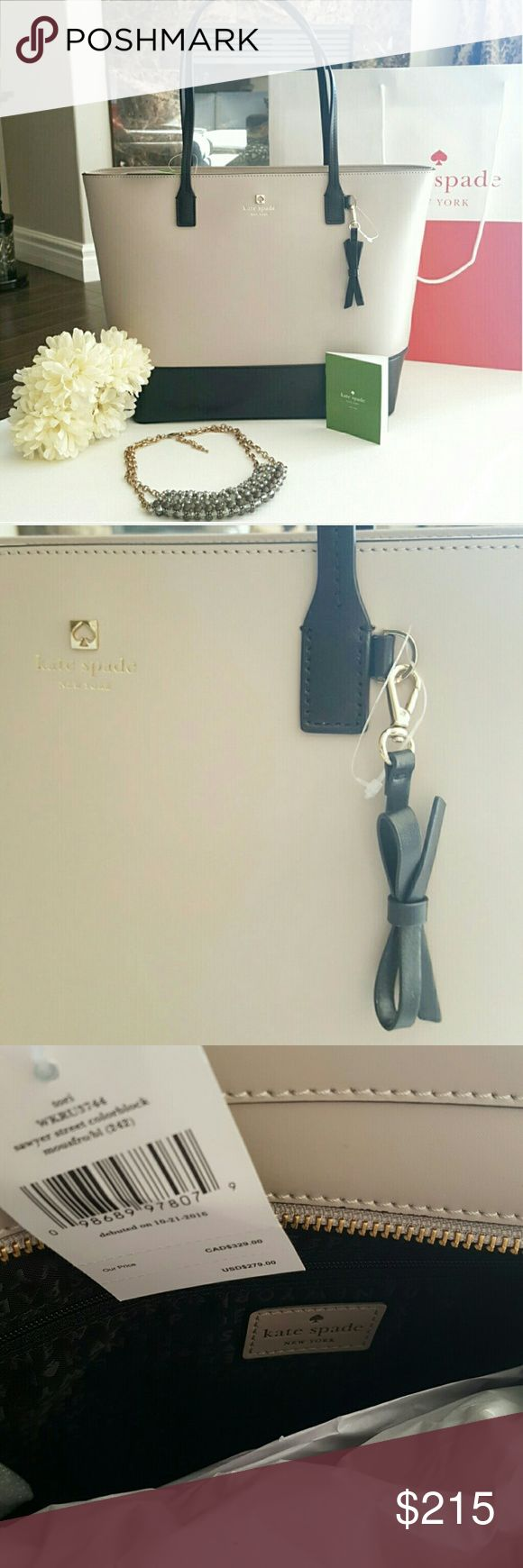 """NWT KATE SPADE   TORI SAWYER ST TOTE * Style: Tori Sawyer Street Colorblock   WKRU3744 * Color: Mousse frosting/black (242)   Like a light stone gray. Very neutral. * 11.5""""H x 12.2""""W x 4.1""""D * Strap drop: 8.7""""   Shoulder bag length  * Smooth leather * KS blk jacquard lining * 14-karat light gold plated hardware * Top zip closure * Removable bow keyfob! * Inner slip pockets and zip pocket * Gift bag included only while supplies last so plz ask * MATCHING WALLET LISTED SEPARATELY   Reasonable…"""