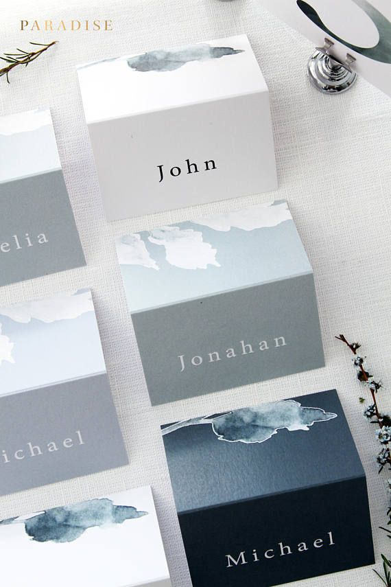 Serena Sage and Grey Place Cards, Wedding Stationery Templates, Place Cards Printed and Scored in the Middle, Watercolour Elements Cards