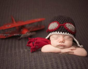 Newborn baby photo prop knit crochet aviator pilot hat and matching scarf set photo prop-choose size and colors