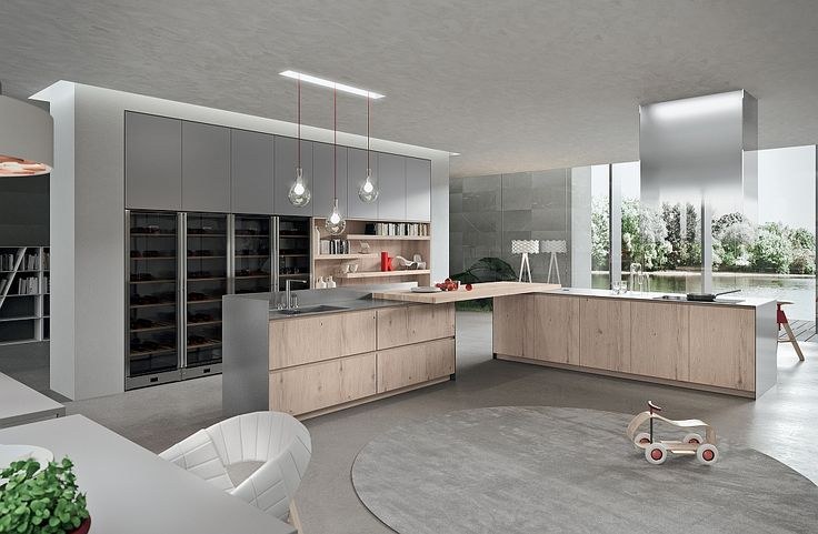 Blonde colour of the cabinetry