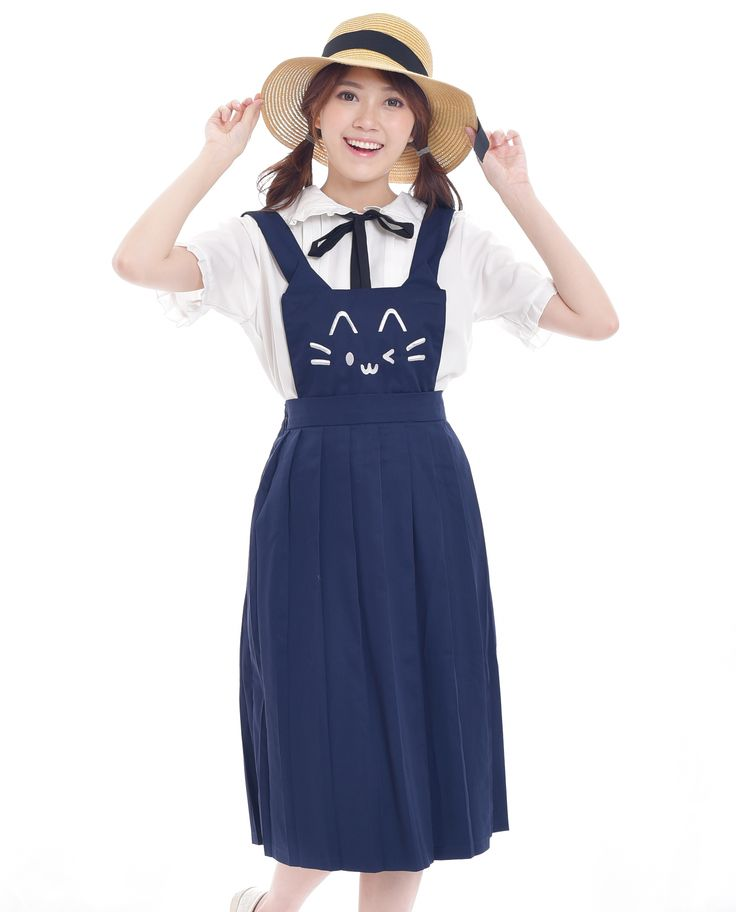 $23. Shop cute cat face embroidery blue kawaii pinafore dress. Jual dress atau rok overall dungaree kawaii bordir wajah kucing lucu. Indonesia, ship wordwide! #pinafore #dungaree #overalls #cat #neko #dress #harajuku #asian #fashion #style #look
