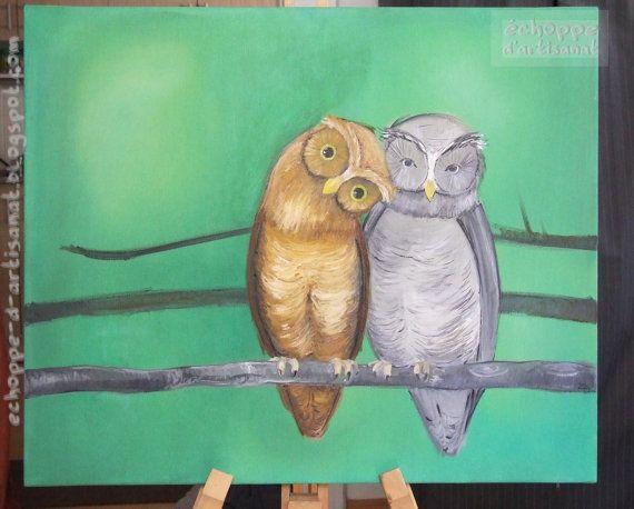Owl pair oil painting by EchoppedArtisanat on Etsy, $150.00