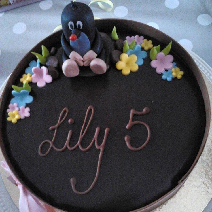 Chocomousse taart voor 5de verjaardag van ons dochtertje Lily.  #taart #chocomousse #molletje #krtek #cake #verjaardag #birthday
