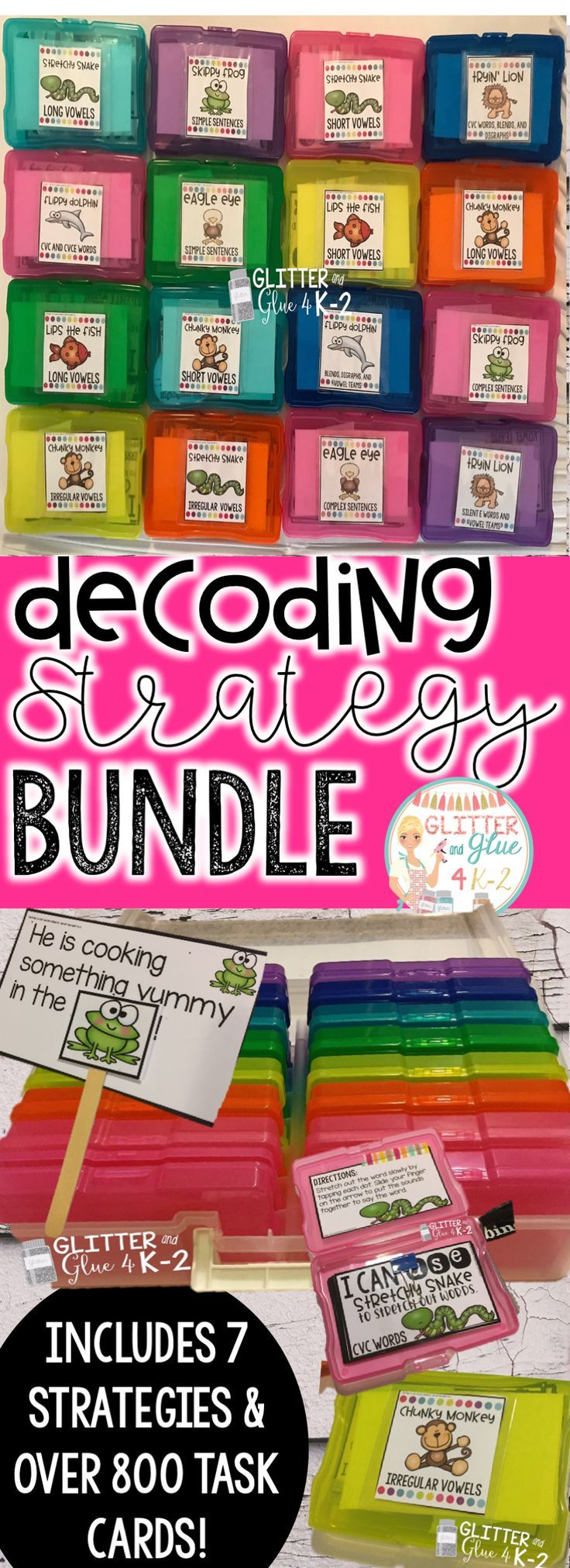 A great resource to teach students to decode unfamiliar words! It's a great warm up for guided reading! Includes seven decoding strategies and posters. Over 800 task cards are included. Keywords: beanie baby decoding strategies, phonics, word work, kinder