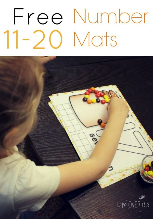 Free Fall Counting Mats for Numbers 11 to 20
