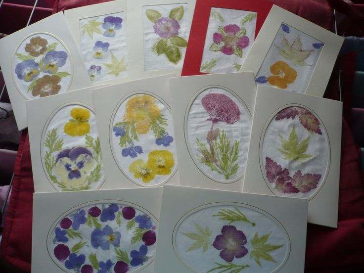 cards made with flower pounding technique