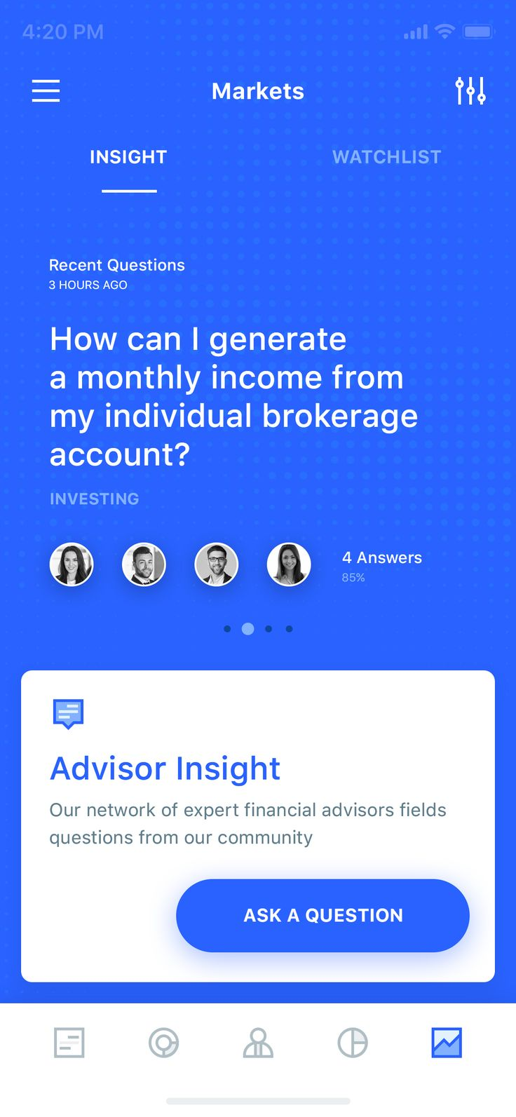 Markets insight offer a Q&A feature contributed by a group of notorious advisor on the game which also equipped with a wide range selection of instruments. You can even trade in crypto, indices...