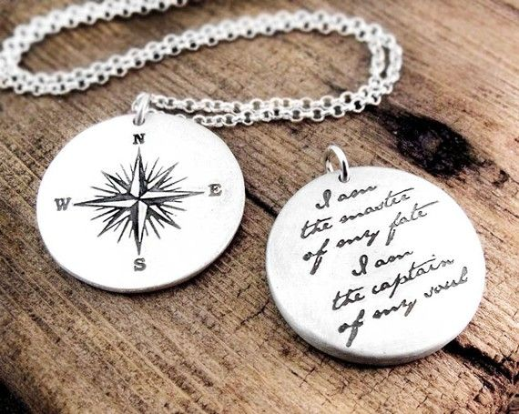 """A two sided piece, with a compass rose on the front and this inspirational quote from the poem Invictus, by William Ernest Henley, on the back: """"I am the master of my fate, I am the captain of my soul.""""  - one of my favorite quotes ever!"""
