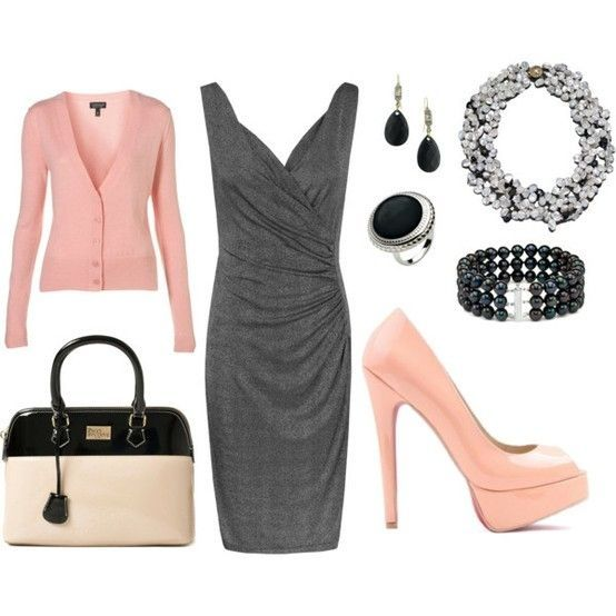 Pink & Gray Dressy Outfit Day or Evening fashion dress jewelry gray fall fashion sweater dressy pumps fall outfit pink accessories