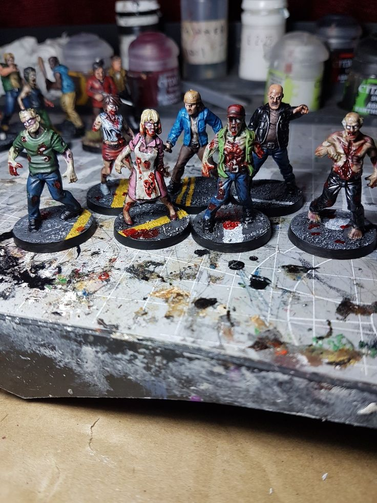 Walkers, Derek and Sandra. Astrogranite base with road markings and blood on the Walker bases