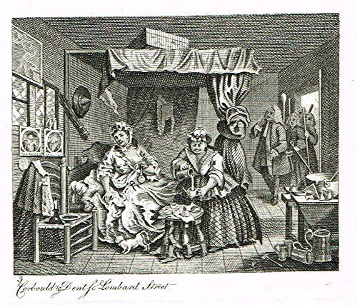 "Hogarth's Illustrated - ""THE HARLOT'S PROGRESS - PL III"" - Antique Engraving - 1807"