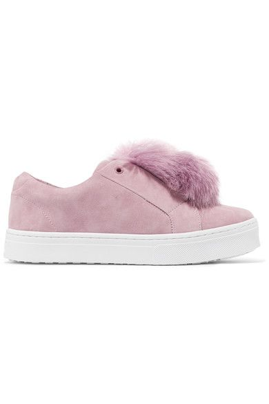 Sam Edelman | Leya faux fur-embellished suede slip-on sneakers | NET-A-PORTER.COM