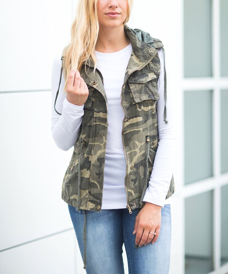 Take a look at this Olivia & Jane Olive Camo Cargo Vest today!