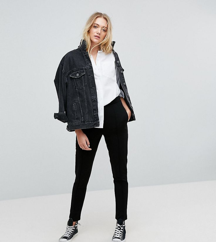 Noisy May Tall Pants With Side Stripe Detail - Black