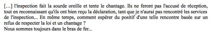 INTERVIEW D'ISABELLE : L'INSPECTION REFUSE D'ACCUSER RÉCEPTION DE SA DÉCLARATION EN IEF.