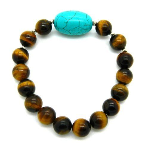 Sterling Silver Yellow Tigers Eye & Dyed Howlite Turquoise Stretch Bracelet 8-inches Pearlz Ocean. $8.99. Bracelet Length 8-inches. Bead Size 14 mm wide x 19 mm long. Sterling Silver Yellow Tigers Eye, Dyed Howlite Turquoise Bead Stretch Bracelet. This fashionable bracelet shines with a highly polished finish. Sterling Silver. Save 61% Off!