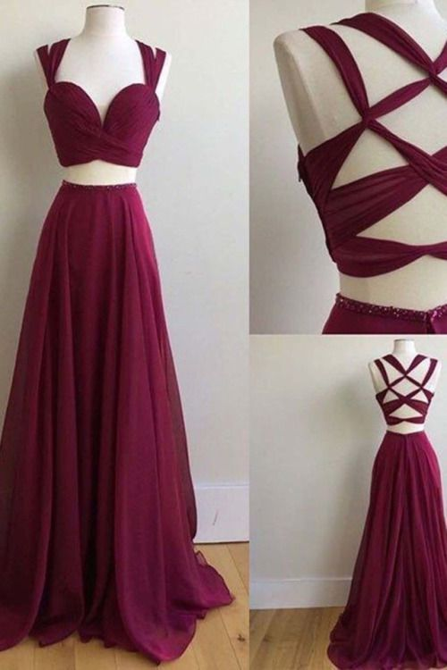 Sexy simple open back two pieces burgundy long A-line prom dresses