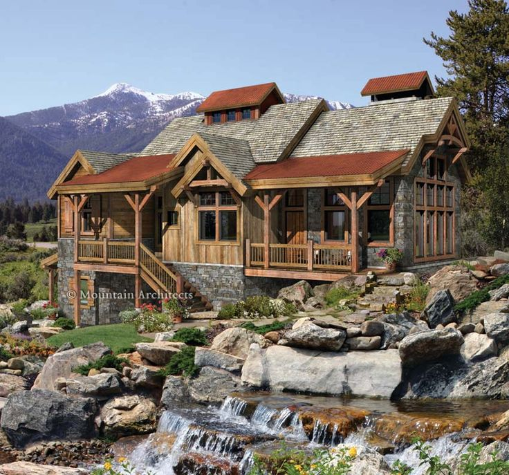 Creekside timber home design home pinterest cabin for Ranch timber frame homes